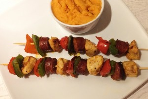 chorizo-chicken-kebabs-with-sweet-potato-mash