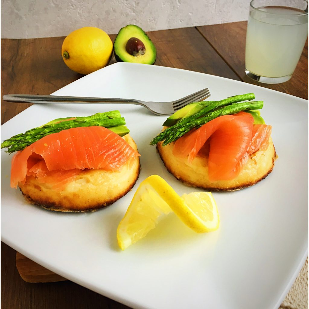 Gluten-free-crumpets-with-salmon-avocado-egg-asparagus